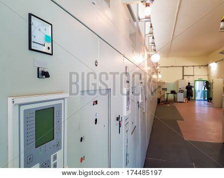 Power plant bay control panel. Closeup of measuring and control units.