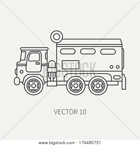 Line flat plain vector icon armored wagon army truck. Military vehicle. Cartoon vintage style. Autonomous mobile command post. Tractor unit. Tow auto. War. Simple. Illustration and element for design.