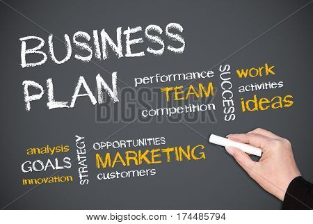 Business Plan - female hand writing text