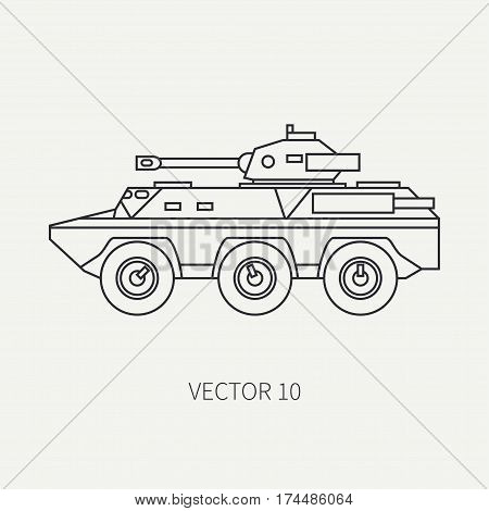 Line flat plain vector icon infantry assault armored army truck. Military vehicle. Cartoon vintage style. Soldiers. Tank corps. Tractor unit. Tow auto. Simple. Illustration and element for design. War