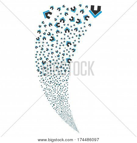 Home random fireworks stream. Vector illustration style is flat blue and gray iconic symbols on a white background. Object fountain organized from scattered design elements.