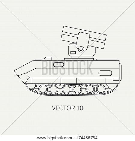 Line flat plain vector icon armored reactive systems of salvo army truck. Military vehicle. Cartoon vintage style. Missiles. Mortar. Tractor unit. Tow auto. Simple. Illustration and element for design