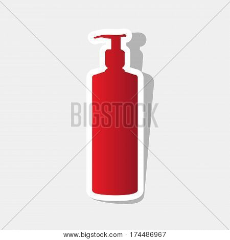 Gel, Foam Or Liquid Soap. Dispenser Pump Plastic Bottle silhouette. Vector. New year reddish icon with outside stroke and gray shadow on light gray background.