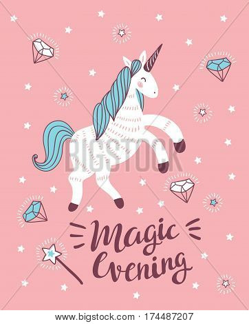 Vector poster with unicorn magic wand and crystal on the pink background. Fantasy childish card design. Magical background with stylish phrase 'Magic evening'.