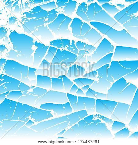 Blue cracking texture. Imitation of water. Grunge background. Pattern with cracks. Vector illustration.