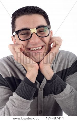 Young man wearing glasses isolated on white
