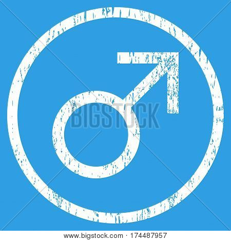 Mars Male Symbol grainy textured icon for overlay watermark stamps. Rounded flat vector symbol with scratched texture. Circled white ink rubber seal stamp with grunge design on a blue background.