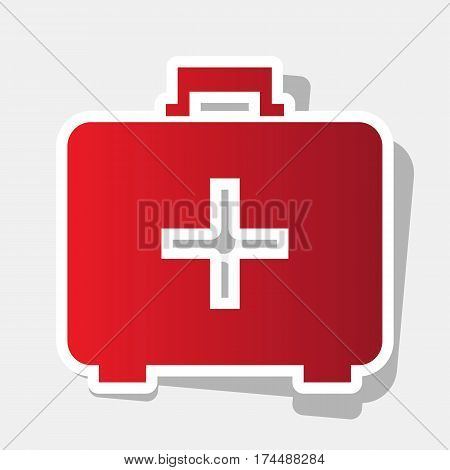 Medical First aid box sign. Vector. New year reddish icon with outside stroke and gray shadow on light gray background.
