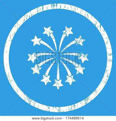 Spherical Fireworks grainy textured icon for overlay watermark stamps. Rounded flat vector symbol with scratched texture. Circled white ink rubber seal stamp with grunge design on a blue background.