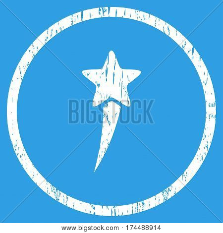 Starting Star grainy textured icon for overlay watermark stamps. Rounded flat vector symbol with dust texture. Circled white ink rubber seal stamp with grunge design on a blue background.