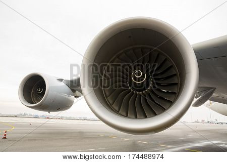 Sofia, Bulgaria - October 16, 2016: Close up of Airbus A380 two turbines jet engines on the wing.