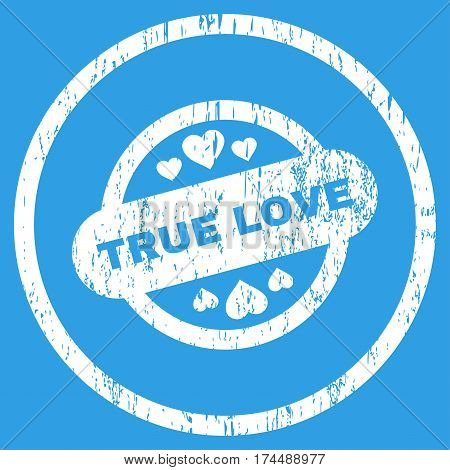 True Love Stamp Seal grainy textured icon for overlay watermark stamps. Rounded flat vector symbol with unclean texture. Circled white ink rubber seal stamp with grunge design on a blue background.