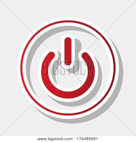 On Off switch sign. Vector. New year reddish icon with outside stroke and gray shadow on light gray background.