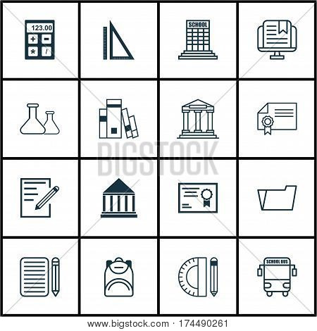 Set Of 16 School Icons. Includes Paper, Electronic Tool, Haversack And Other Symbols. Beautiful Design Elements.