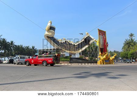 CHONBURI THAILAND - NOV 29 2015: Landscape of Traffic roundabout at Bangsaen beach. This is the icon of the popular beach in Chonburi province Thailand.