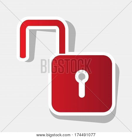 Unlock sign illustration. Vector. New year reddish icon with outside stroke and gray shadow on light gray background.