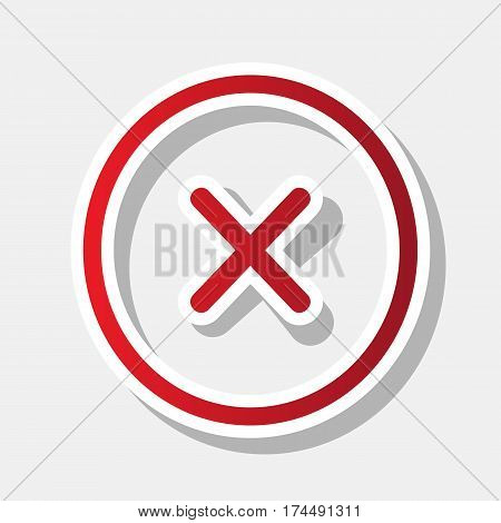 Cross sign illustration. Vector. New year reddish icon with outside stroke and gray shadow on light gray background.