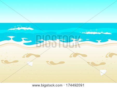 Cartoon illustration of footprints on beautiful beach