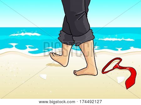 Cartoon illustration of a businessman with barefoot walking on the beach