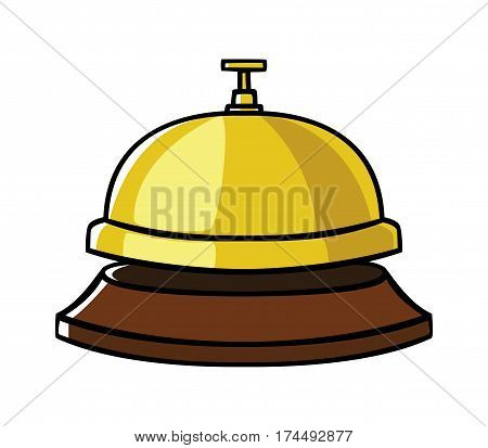 Doodle illustration of a concierge bell isolated on white