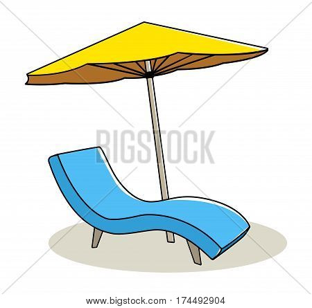 Doodle illustration of relaxing chair under big umbrella