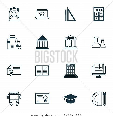 Set Of 16 Education Icons. Includes Library, Education Center, Measurement And Other Symbols. Beautiful Design Elements.
