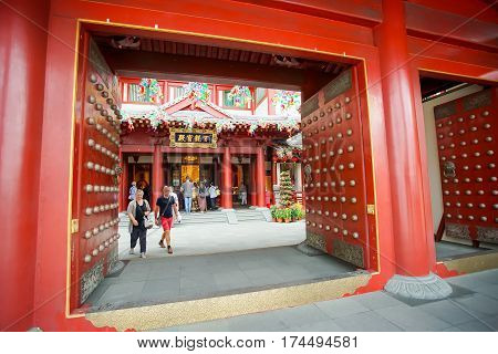SINGAPORE JAN 20 2017: The Chinese Buddhist temple Buddha Tooth Relic Temple located in the Chinatown district of Singapore.