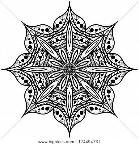 Monochrome octagonal mandala. Graphic rosette for the album. The symmetrical pattern in a circle. Illustration for color book.