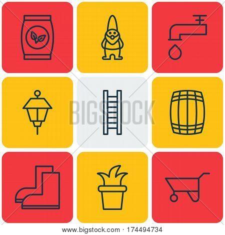Set Of 9 Garden Icons. Includes Spigot, Bush Pot, Lantern And Other Symbols. Beautiful Design Elements.