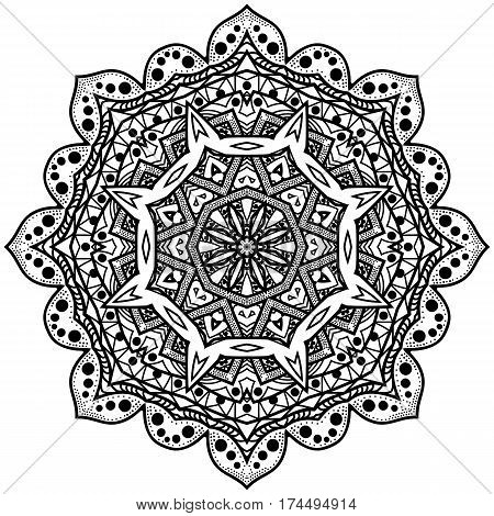 Monochrome octagonal mandala. Graphic rosette for the album. The symmetrical pattern in a circle. Illustration for meditation. Illustration for color book.