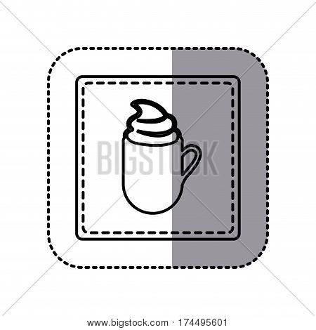 white emblem cuppa coffee with cream icon, vector illustraction design