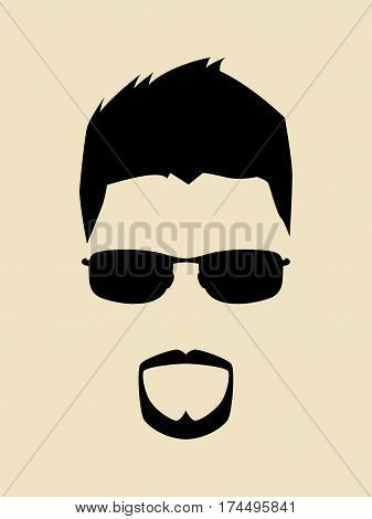 Cool man with beards and mustache wearing a sunglasses