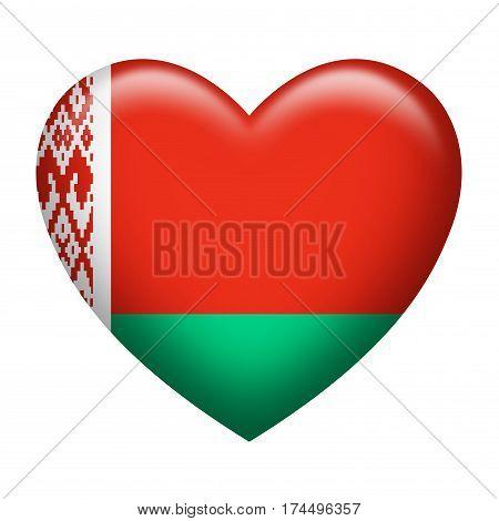 Heart shape of Belarus flag isolated on white