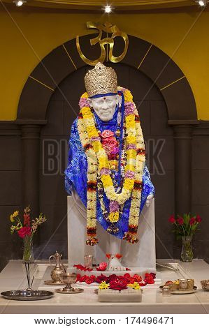 SUNNYVALE CA- USA APRIL 2016. Sai Baba of Shirdi in Hindu temple. He was an Indian spiritual master who was and is regarded by his devotees as a saint fakir and satguru.