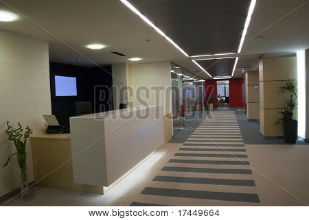 reception in modern office building