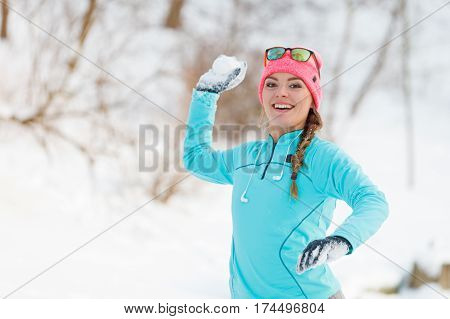 Girl Playing Games In Snow