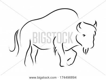 Simple line art illustration of a bison