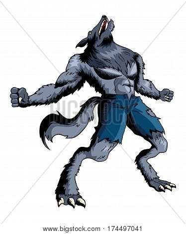 Cartoon illustration of a howling werewolf isolated on white