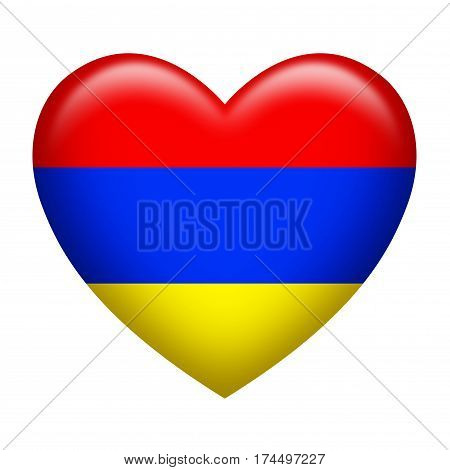 Heart shape of Armenian insignia isolated on white