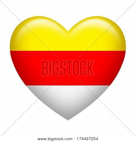 Heart shape of Carinthia flag isolated on white