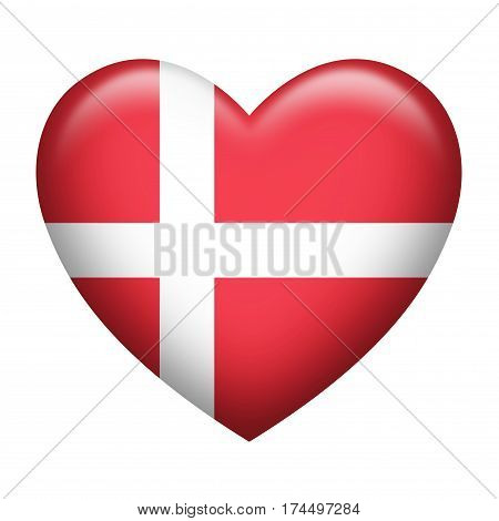 Heart shape of Denmark flag isolated on white