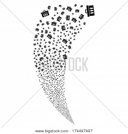 Analysis random fireworks stream. Vector illustration style is flat black iconic symbols on a white background. Object fountain created from scattered symbols.