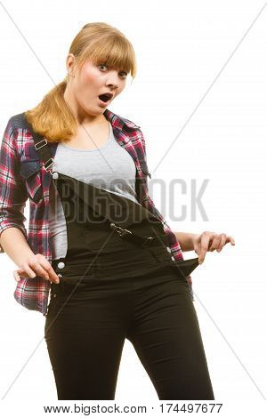 Surprised Woman Wearing Dungarees And Check Shirt