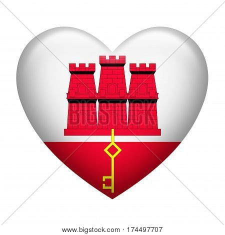 Heart shape of Gibraltar insignia isolated on white