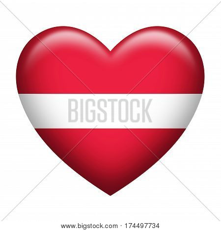 Heart shape of Latvia insignia isolated on white