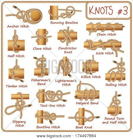 Set of rope knots, hitches, bows, bends isolated on white background. Decorative vector design. Part 3 of 3