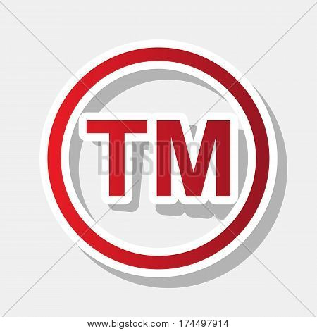 Trade mark sign. Vector. New year reddish icon with outside stroke and gray shadow on light gray background.