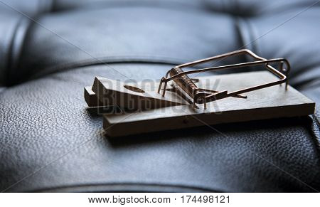 wooden mousetrap on a black leather couch