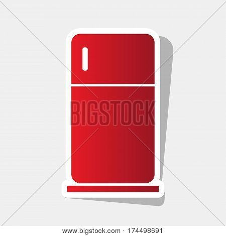 Refrigerator sign illustration. Vector. New year reddish icon with outside stroke and gray shadow on light gray background.