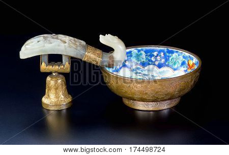 19th Century Chinese white jade cloisonne and gold wash brush washer.